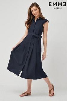 Emme by Marella Navy Yelina Cotton Shirt Dress