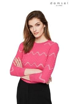 Damsel In A Dress Pink Oria Texture Knit Jumper