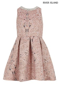 River Island Pink Asymmetric Jacquard Party Dress