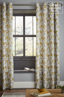 Catherine Lansfield Inga Leaf Lined Eyelet Curtains