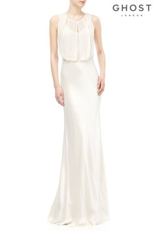 Ghost London Cream Claudia Satin Dress