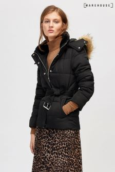 Warehouse Black Short Belted Padded Coat