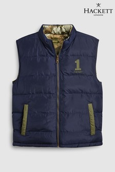 Hackett KIds Navy Blue British Isles Camouflage Print Lining Gilet