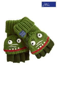 Joules Olive Dinosaur Character Convertible Gloves
