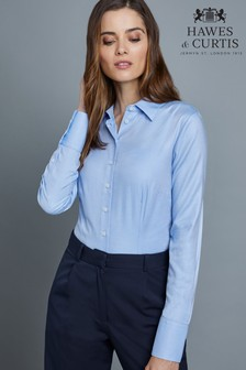 Hawes & Curtis Blue Plain Double Cuff Shirt