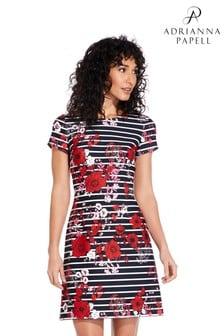 שמלה עם חצי שרוול בגזרת A מבד סקובה שחור של Adriana Papell