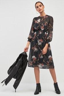 Легкое платье миди с цветочным рисунком