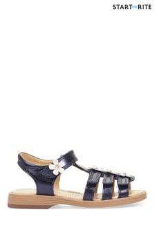 Start-Rite Picnic Navy Metallic Leather Sandals