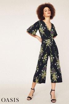Oasis Black Flower Bunch Jumpsuit