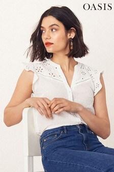 Oasis White Broderie Trim Shirt