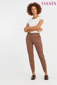 Oasis Natural Button Heritage Check Trouser