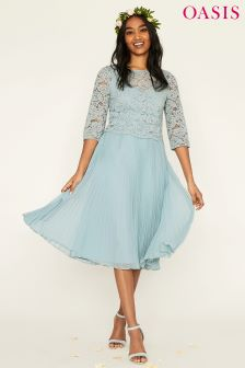 Oasis Blue Ellie Lace Top Pleated Midi Dress
