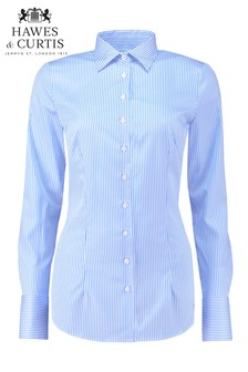 Hawes & Curtis Blue Stripe Single Cuff Shirt