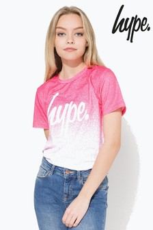Hype. Pink And White Speckle Fade Tee