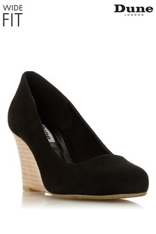 Dune Ladies Black Wide Fit Unlined Stacked Wedge