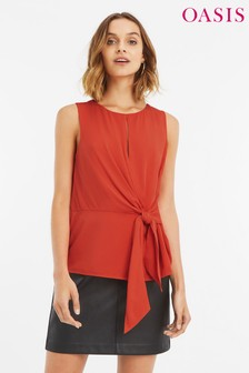 Oasis Orange Keyhole Tie Top