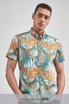 Chemise manches courtes imprimé feuilles de palmier