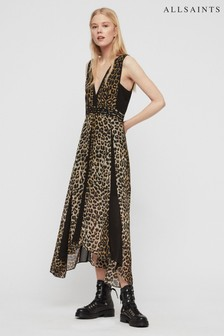 AllSaints Black Leopard Macella Midi Dress