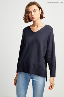 French Connection Blue Ebba Vhari V-Neck Jumper
