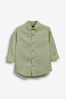 قميص من مزيج الكتان بكم طويل (3-16 سنة)