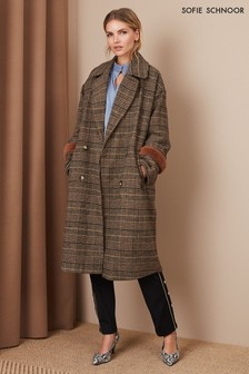 Sofie Schnoor Brown Check Faux Fur Trim Overcoat
