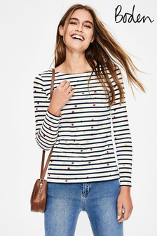 Boden White Long Sleeve Breton T-Shirt