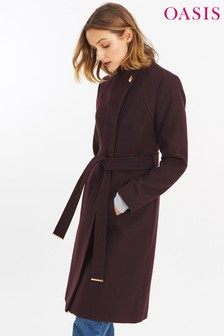 Oasis Burgundy Magnolia Panel Fitted Coat
