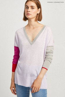 French Connection Pink Colourblock Jumper
