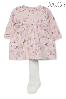 M&Co Kids Pink Floral Print Dress And Tights Set