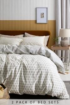 Bettbezug und Kissenbezug mit orientalischem Mini-Geo-Muster, 2er-Pack