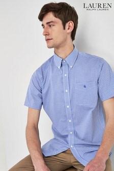 Lauren Ralph Lauren Navy Gingham Short Sleeve Shirt