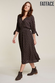 FatFace Black Aria Tulip Ditsy Midi Dress