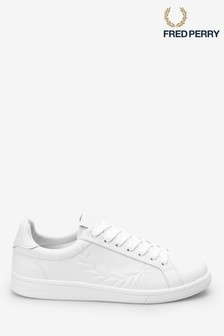 Fred Perry White Embossed Laurel Leather Trainers