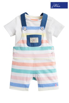 Joules White Duncan Jersey Dungaree & T-Shirt Set