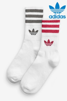 adidas Originals Red/Grey 3 Stripe Mid Cut Socks