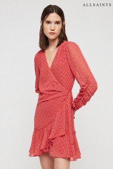 All Saints Red Heart Print Wrap Dress