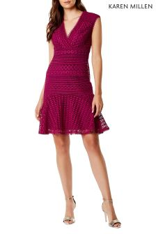 Karen Millen Pink Geo Chemical Lace Dress
