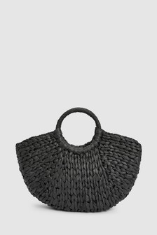 Straw Half Moon Bag
