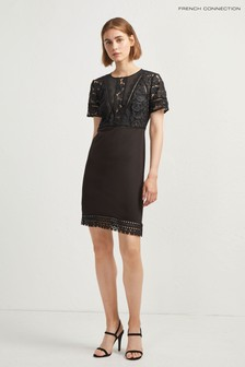 French Connection Black Lace Top Fitted Dress