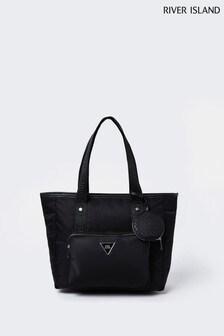 River Island Black Cycle Nylon Shopper Bag