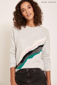 Mint Velvet Grey Wave Stripe Knit