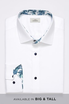 Textured Slim Fit Floral Trim Shirt