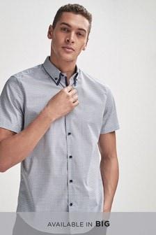Geo Print Double Collar Regular Fit Shirt