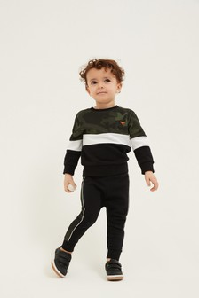 Jersey Colourblock Crew And Joggers Set (3mths-7yrs)