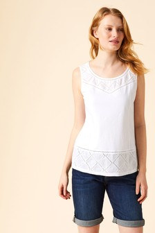 White Stuff White Locket Embroidered Jersey Vest