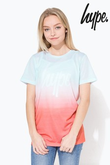 Miętowo-pomarańczowa wyblakła koszulka Hype.