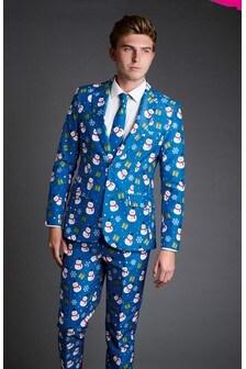 Blue Snowman Christmas Suit