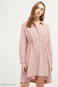 French Connection Pink Smythson Cord Shirt Dress