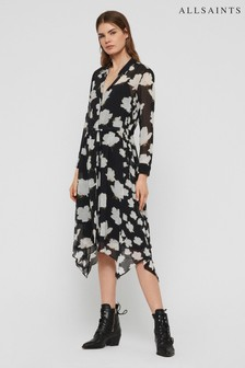 AllSaints Black Riva Floral Shirt Dress
