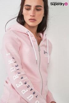 Superdry Pink Track Zip Hoody